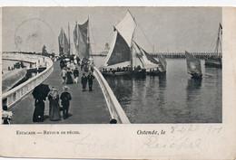 Oostende Ostende, Staketsel En Vissersboten - Estacade  Bateaux De Pêche, Verviers 1901. - Oostende