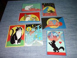 Lot Carte Postale Illustrateur  Patrick Hamm  Lot De 7 Cartes Chat - Hamm