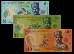 Brunei 2011 (UNC) 1 5 10 Dollar Set P35 P36 P37 - Brunei