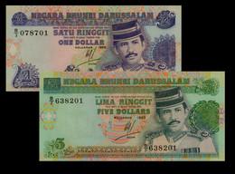 Brunei 1 (1989) 5 (1995) Dollar Set P13/A P-14 - Brunei