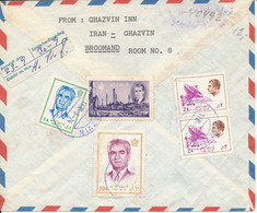 Iran Registered Air Mail Cover Sent To Denmark Chazvine 16-9-1974 All Stamps On The Backside Of The Cover - Iran