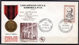 FDC FRANCE 1961 - N° 1290 - 30 C. - Héros De La Résistance - Paul GATEAUD - 1960-1969