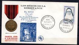 FDC FRANCE 1961 - N° 1291- 30 C. Outremer Et Gris-vert - Héros De La Résistance - Mère Elisabeth - 1960-1969