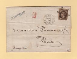 Paris - Etoile 14 - R. De Strasbourg - 14 Dec 1867 - Destination Suisse - 1849-1876: Classic Period