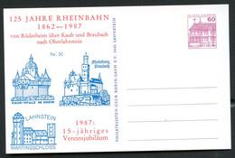 Bund PP106 C2/030 125 J. RHEINBAHN RÜDESHEIM - OBERLAHNSTEIN Lahnstein 1987 - Private Postcards - Mint