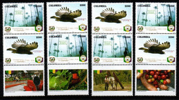 A670C- 2016. KOLUMBIEN / COLOMBIA.-. MNH PAIR- BOTTOM LABELS- MOUNTAIN EAGLE AND HORSE. QUINDIO DEPARTMENT 50 YEARS. - Colombia