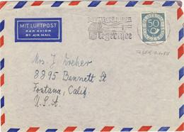 ALLEMAGNE / DEUTSCHLAND - 1954 Posthorn 50pf Mi.134 Einzelfrankatur Auf Luftbrief Aus Teger Nach Kalifornien - Brieven En Documenten