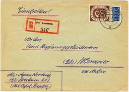 ALLEMAGNE / DEUTSCHLAND - 1952 Posthorn 60pf & Notopfer Berlin 2pf Mi.135 & Mi.6 Auf Einschreiben Brief Aus Lemförde - Cartas