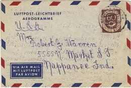 """ALLEMAGNE / DEUTSCHLAND - 1954 Posthorn 60pf Mi.135 Auf """"Luftpost-Leichtbrief"""" Nach USA - Cartas"""