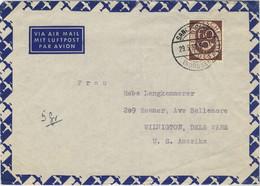 ALLEMAGNE / DEUTSCHLAND - 1954 Posthorn 60pf Mi.135 Auf Luftbrief Aus Sanct-Peter Nach USA - Cartas