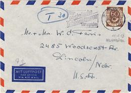 ALLEMAGNE / DEUTSCHLAND - 1953 Posthorn 60pf Mi.135 Auf Luftbrief Aus Wolfenbüttel Nach USA - Brieven En Documenten