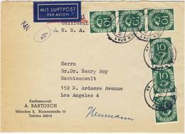 ALLEMAGNE / DEUTSCHLAND - 1952 Posthorn 10pf (x6) Mi.128 Auf Luftbrief Aus München Nach Los Angeles, USA - Cartas