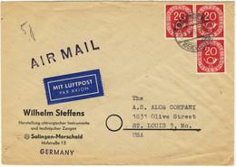 ALLEMAGNE / DEUTSCHLAND - 1953 Posthorn 20pf (x3) Mi.130 Auf Luftbrief Aus Solingen Nach St. Louis, USA - Cartas