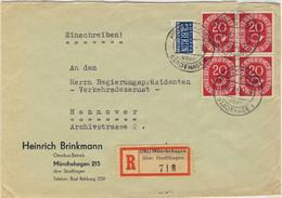 ALLEMAGNE / DEUTSCHLAND - 1952 Posthorn 20pf (x4) & Notopfer Berlin 2pf Mi.130 & Mi.6 Auf Einschreiben Brief Münchehagen - Cartas