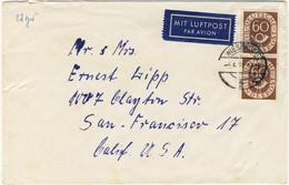ALLEMAGNE / DEUTSCHLAND - 1952 Posthorn 60pf (Paar) Mi.135 Auf Luftbrief Aus Wiesbaden Nach USA - Covers & Documents