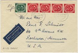 ALLEMAGNE / DEUTSCHLAND - 1953 Posthorn 10pf & 20pf (x4) Mi.128 & 130 Auf Luftbrief Aus Bremen Nach USA - Cartas