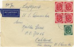 ALLEMAGNE / DEUTSCHLAND - 1953 Posthorn 10pf & 20pf (x4) Mi.128 & 130 Auf Luftbrief Nach USA (ohne Rückklappe) - Cartas
