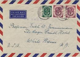 ALLEMAGNE / DEUTSCHLAND - 1952 Posthorn 10pf & 40pf (x2) Mi.128 & 133 Auf Luftbrief Aus Frankfurt Nach USA - Cartas