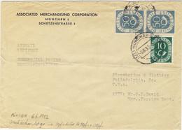 """ALLEMAGNE / DEUTSCHLAND - 1953 Posthorn 10pf & 50pf (x2) Mi.128 & 134 Auf """"Geschäftspapiere"""" Luftbrief Nach USA - Cartas"""