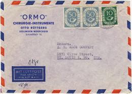 ALLEMAGNE / DEUTSCHLAND - 1953 Posthorn 10pf & 50pf (x2) Mi.128 & 134 Auf  Luftbrief Aus Solingen Nach USA - Cartas
