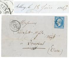 BOITE RURALE SOMME LAC 1866 AIRAINES GC + T15 + BOITE RURALE  N = ALLERY - 1849-1876: Classic Period