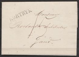 """L. Datée 13 Novembre 1828 De COURTRAI Pour Architecte à GAND - Griffe """"KORTRYK"""" (H51) - Port 15c (au Dos: Cachet De La V - 1815-1830 (Dutch Period)"""