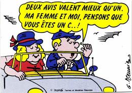 AUTOCOLLANT  G Meunier DEUS AVIS VALENT MIEUX QU'UN  MA FEMME ET MOI PENSONS QUE VOUS ETES UN C..!RV - Humor