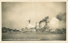 BATEAU DE GUERRE ALLEMAND SALUTSCHIESSEN DES LINIENSCHIFFES SCHLESWIG-HOLSTEIN  LANCEMENT EN 1906 - Warships