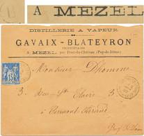 BOITE RURALE PUY DE DOME ENV LST A ENTETE 1892 PONT DU CHATEAU BOITE RURALE B = MEZEL - 1877-1920: Semi Modern Period