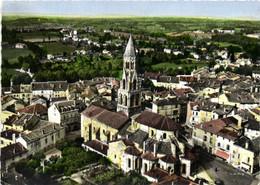 CPSM Grand Format EN AVION AU DESSUS DE  ..St LEONARD  DE NOBLAT  L'Eglise Et Vue Generale Colorisée   RV - Saint Leonard De Noblat