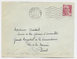 GANDON 5FR ROSE SEUL LETTRE MECANIQUE PARIS TRI N° 1 1.1.1947 1ER JOUR TARIF ET UNE JOURNEE RARE - 1945-54 Marianna Di Gandon