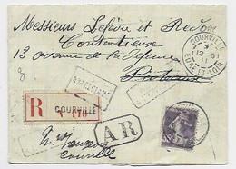N° 142 SEUL LETTRE COURVILLE 12.6.1911 EURE ET LOIR POUR PUTEAUX + NON RECALME + VERSO CHARTRES GARE - 1877-1920: Semi Modern Period