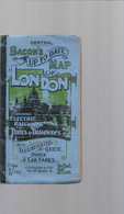 BACON'S MAP OF LONDON With INDEX & HORSE-CAB FARES . MANY PUBS !!-- WITH OUT DATE !!   HE'S LOOKING CORRECT - Tourism Brochures