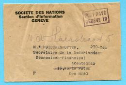 Streifband Société Des Nations - PORT PAYE GENEVE 10 Nach Den Haag - Unclassified