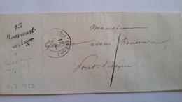 CALVADOS - LAC Avec Cursive (tardive) De Beaumont En Auge Pour Pont-l'Evèque Le 17/07/1853 - TM 1 - 2 Photos - 1849-1876: Klassieke Periode