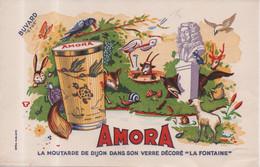 Buvard Efgé Amora La Moutarde De Dijon Dans Son Verre Décoré Fables De La Fontaine - Mostard