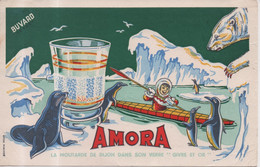 Buvard Efgé Amora La Moutarde De Dijon Dans Son Verre Décoré Givre Et Or Esquimau Pingouin Phoque Otarie Ours Glacier - Mostard