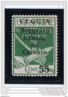 VEGLIA:  1920  SOPRASTAMPATO -  55/5 C. VERDE  S.G. -  SASS. 10 - Arbe & Veglia