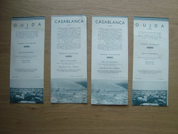 LOT DE 4 DEPLIANTS TOURISTIQUES CASABLANCA OUJDA MAROC 1937 - Reiseprospekte