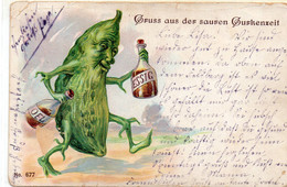 DC5050 - Schöne Motivkarte Litho Gruss Aus Der Sauren Gurkenzeit Humor Essig Und Öl Vermenschlichte Gurke Herbolz 1930 - Greetings From...