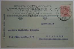 """CREMONA - BORGO PORTA VENEZIA - CARTOLINA COMMERCIALE """"VITTORIO BUSINI & C./ PREMIATA SOCIETA' MECCANICA"""" - 1924 - Cremona"""