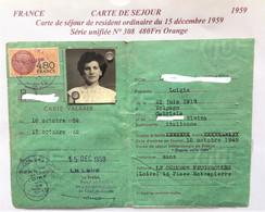 FISCAUX DE FRANCE CARTE CARTE DE SEJOUR SU N°308  480F ORANGE 1959 - Fiscaux