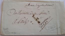 CALVADOS - LAC Marque De Bayeux En Franchise De La Police Militaire Du 28/06/1798 Pour Le Ministre De La Guerre à Paris - 1801-1848: Precursors XIX