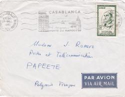 Devant D'enveloppe Par Avion Via Air Mail Casablanca Bourse à Papeete Flamme Casablanca - Morocco (1956-...)