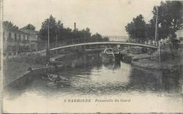 CPA 11 Aude Narbonne Passerelle Du Canal - Péniche - Narbonne