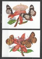 XX707 MALDIVES BUTTERFLIES & FLOWERS FLORA & FAUNA 2BL MNH - Butterflies