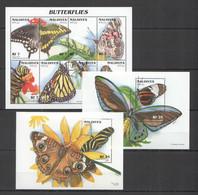 XX713 MALDIVES BUTTERFLIES INSECTS & FLOWERS FLORA & FAUNA !!! 1KB+2BL MNH - Butterflies