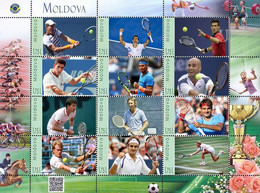 Moldova 2019, Famous Sportsmen - Tennis Winners, Sheetlet Of 12v - Moldawien (Moldau)