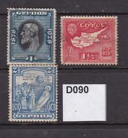 Cyrpus 1928 1pi, 1½pi And 2½pi - Chypre (...-1960)