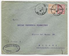 TANGER MOUCHON 10C+15C LETTRE COVER TANGER 27.11.1920 MAROC POUR ITALIE - Covers & Documents